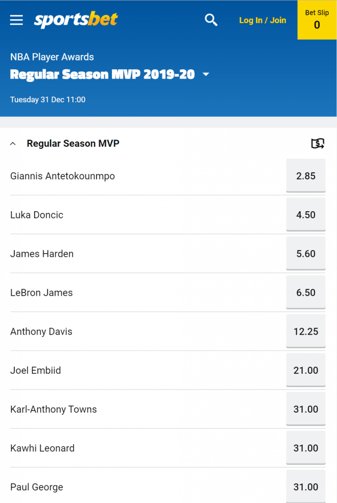 Regular Season MVP odds sports betting